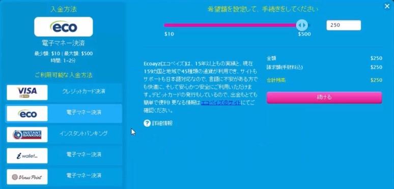 ① サイトのトップページ上部の【入金】をクリックするとこのようなページが表示されます。左手の【eco】のボタンをクリックして、右手のピンク色のバーで希望額を設定し、【続ける】を押します。